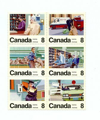Canada MNH #634-39 Letter Carriers Block 6 1974 J407