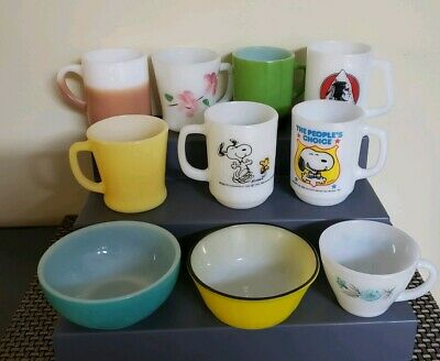 10 VTG FIRE KING anchor hocking snoopy mugs, Milk glass, bowls, & more...variety