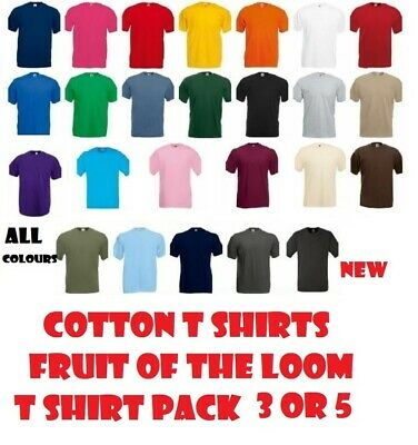 Mens Fruit of the Loom T Shirt Pack of 5 Cotton Plain Workwear Top Wholesale Lot