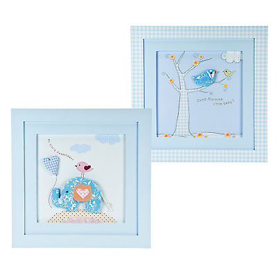 Set of Two Baby Blue Wall Hanging Pictures ideal for Boy's Nursery Decoration