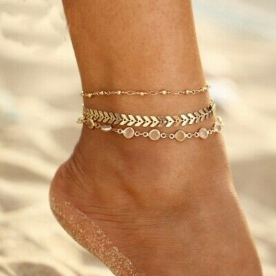 Women Adjustable Anklet Bracelet Chain Foot Beach Jewelry Gold Silver New Gift