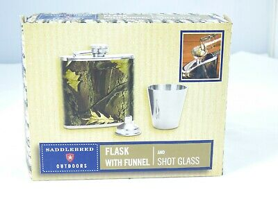 Saddlebred Outdoors 5 oz Stainless Steel Flask Set With Funnel and Shot Glass