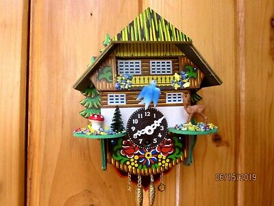 Vintage Cuckoo Clock With Blue Bird, Mushroom And Deer Made In Germany Repair