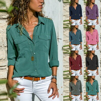 Women Blouse Tops Ladies Holiday Plain Long Sleeve Loose Casual T shirt F/1