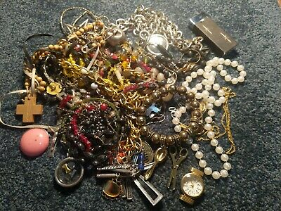 Vintage To Now Estate Find Jewelry Lot Junk Drawer Unsearched Untested Wear #62