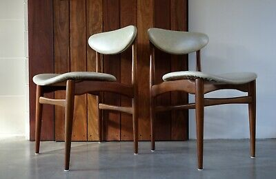 Set 4 vintage retro dining kitchen chairs 1960s Mid century Danish Parker style