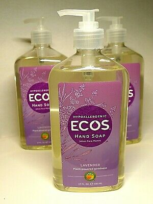 3 Hypoallergenic Ecos Hand Soap Lavender Plant-Powered Goodness 17 Fl Oz Each