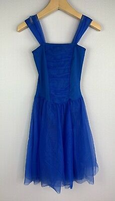 Body Wrappers Junior's Small Blue Tutu Dress with Full Two Layer Skirt