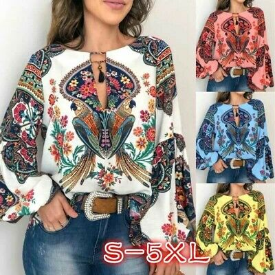 Womens Plus Size Floral Print Tunic Tops Long Sleeve T-Shirt Retro Blouse