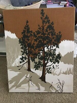 Vintage 1980 Marushka Textile Art Screen Print Stretched Fabric Wall Art Trees