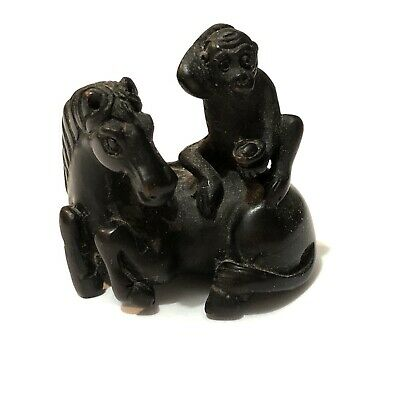 """HandCarved China""""Monkey with Yuan-pao Money,sitting on Horse""""Animal Figurine马上封侯"""
