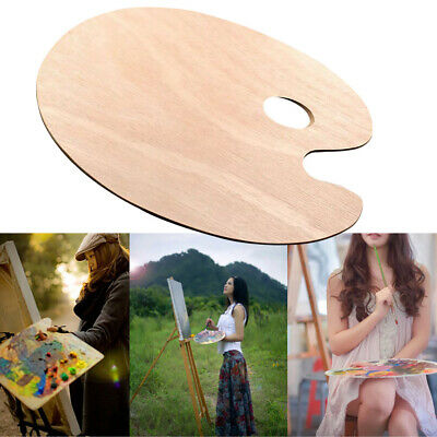 Artist Wood Oil Paint Palette/ Oval Acrylic Paint Tray Painting Tool With Hole