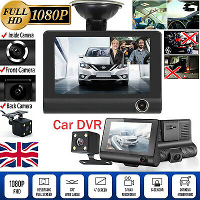 "4""1080P Car DVR Dual Lens Dash Cam Front and Rear Video Recorder Camera G-sensor"