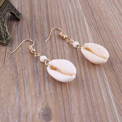 Fashion Mermaid Natural Shell Shell Sea Earrings Ear Hook Beach Trinket FW