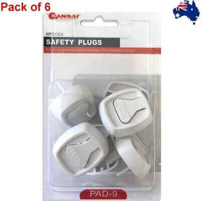 6 pcs Baby Child Power Point Cover Board Safety Plugs Protective Outlet NZ AU