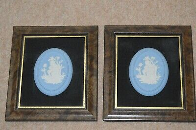 Pair of Large Vintage Wedgwood Blue Jasperware Plaques