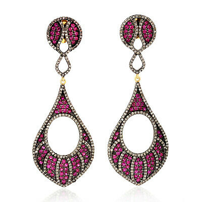 14K Gold 2.1Ct Pave Diamond Sterling Silver Genuine Ruby Dangle Earrings Jewelry