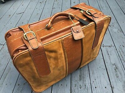 Vintage European Belting Leather Suede Luggage Suitcase