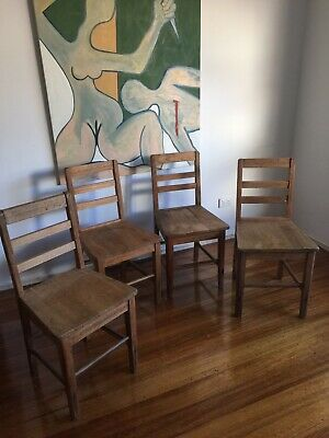 Mid Century Antique Vintage Wooden School Chairs X 4