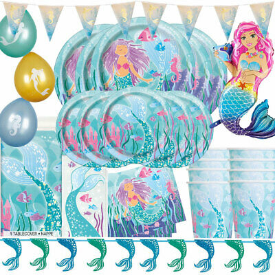 MERMAID Happy Birthday Party Range Tableware Decorations Table cover Plates Cups