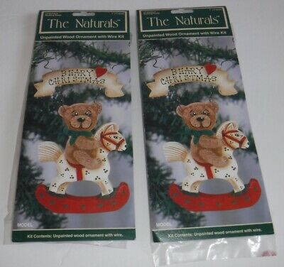 New The Naturals Rocking Horse Bear Wood & Wire Christmas Ornament Kits Lot of 2