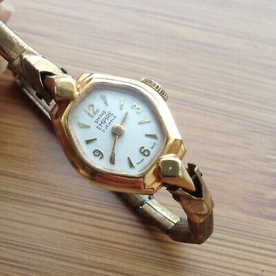 Ladies SMITHS EMPIRE vintage watch 5 jewels rolled gold swiss made - not working