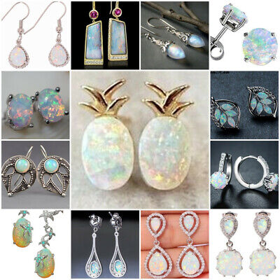 925 Silver Women Opal Moonstone Earrings Wedding Dangle Drop Ear Hook Jewelry
