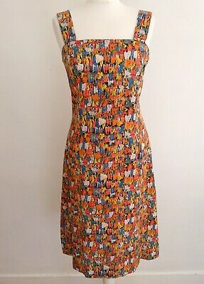 Horrockses Fashions Vintage 1960'S Painterly Cotton Fit & Flare Dress 12 40 Vgc