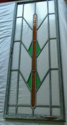 Art Deco Stained Glass Leaded Panel Window 1920S Lead Frame Vintage