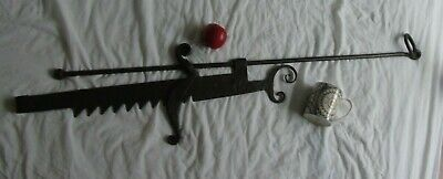 Antique 18Th Century Wrought Iron Pot Hook Bracket  Architectural Art Stand Wall