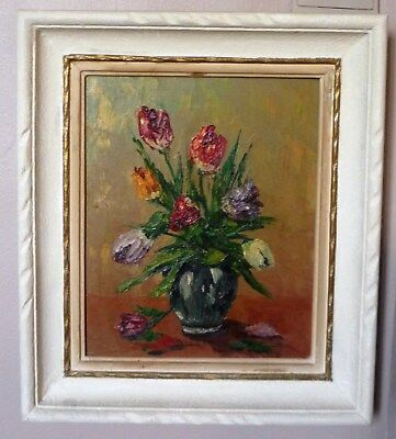 Tableau Huile ST nature morte tulipes 1930 French oil painting Tulips framed