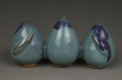 A Fine Collection Chinese 11thC Song Jun Ware Porcelain Peach Pattern Penholder