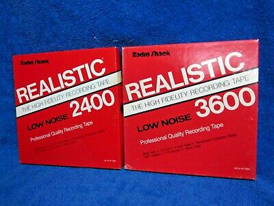 """2 Reels Realistic Lo-Noise Recording Tape 2400 & 3600 Ft 7"""" reel to open reel"""