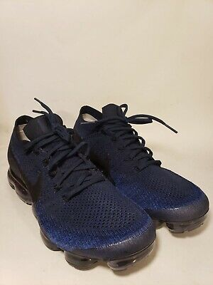 Nike Air Vapormax Flyknit College Navy Black Blue Mens Size 10.5 Rare 849558-400