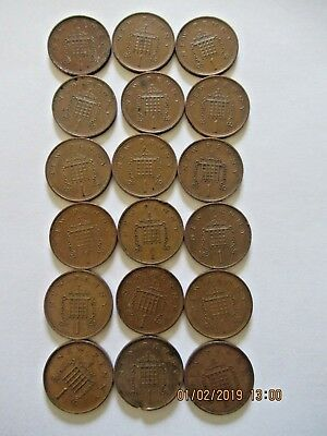 """1p coins one pence """"NEW PENNY"""" Coins Various dates between 1973-1981 (18 coins)"""