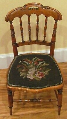 Antique Victorian carved Childs chair Salesman Sample tiger maple needlepoint