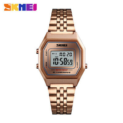 SKMEI Watch Fashion Womens Mens Watches Alarm Casual Stainless Steel Wristwatch