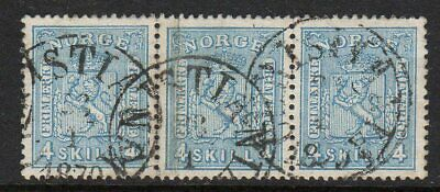 Norway 1867 4sk in a fine used strip x 3
