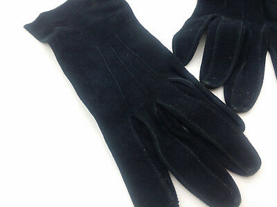 Vintage 1960s/70s Ladies Black Leather Suede Gloves Small