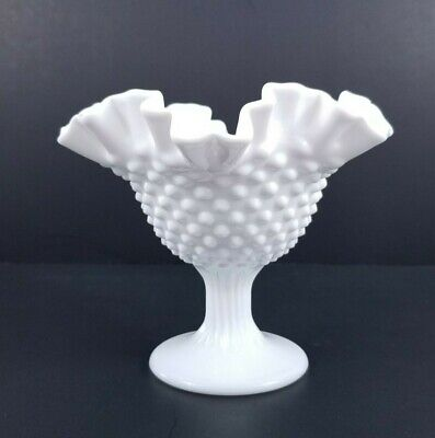 Fenton Hobnail Ruffle Edge Milk Glass Candle Holder Compote Candy Dish