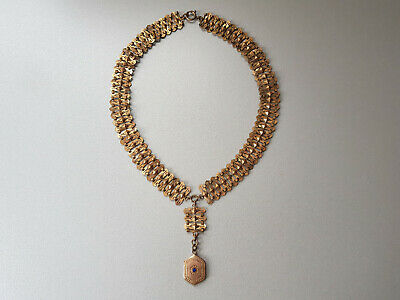 Antique VICTORIAN Mercury Gilt Gilded Necklace with Pedant with sapphire stone