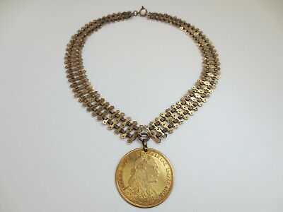 Antique VICTORIAN Mercury Gilt Gilded Necklace with Large Huge COIN Year 1905
