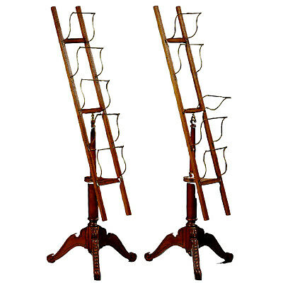 Classy Pair of Birch and Brass Periodical Racks, Antique / Vintage!!