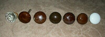 7 Vintage Antique Door Knobs Porcelain White Brown Marble Swirl Clear Glass