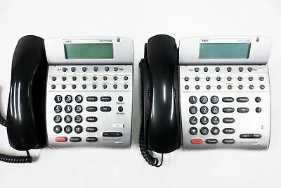 2 NEC Dterm 80 DTH-16D-2 Office Speaker Phones 16 Lines, LCD, Adjustable Stand