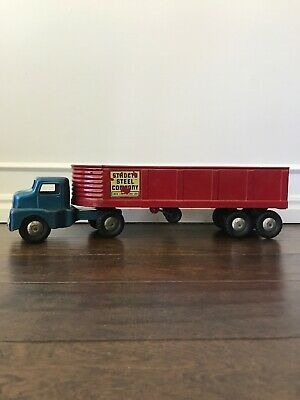 Vintage Structo Semi Cab & Structo Steel Company Tailer Pressed Steel Toy Truck