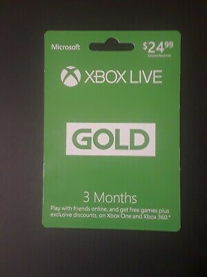 Microsoft Xbox Live 3 Month Gold Card (Physical Card) NEW
