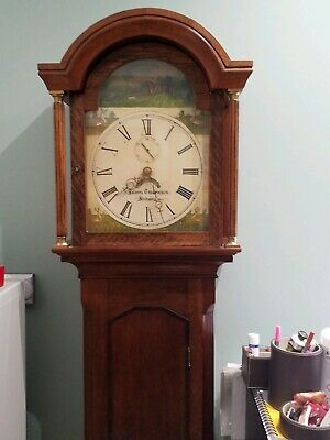 Oak antique grandfather clock with hunting scene, in full working order