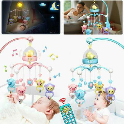 Baby Crib Mobile Musical Bed Bell With Controller Night Light Newborn Toys E0V6X