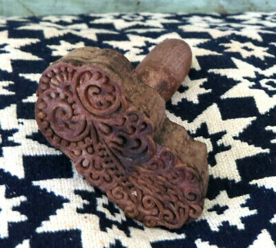 Primitive Farmhouse Swirly Victorian Design carved wood Butter Mold Stamp Press